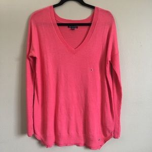 American Eagle Pink V-neck Sweater M